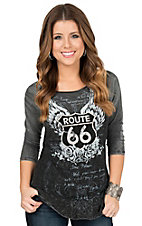 Velvet Stone Women's Charcoal Black Route 66 Screenprint 3/4 Sleeve Casual Knit Top