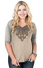 Velvet Stone Women's Light Black with Embroidered Florida Lee with Rhinestones 3/4 Sleeve Casual Knit Top