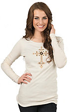 Velvet Stone Women's Cream Wash with Embroidered Iridescent Rhinestone Rivet Cross Long Sleeve Tee