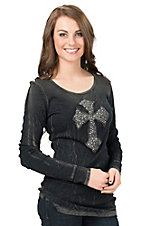 Velvet Stone Women's Crinkle Black Wash with Leather Rhinestone Cross Long Sleeve Casual Knit Top