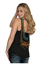 Surf Gypsy Women's Black Chiffon with Crochet Back Sleeveless Top