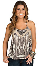 Vintage Havana Women's Sand & Black with Lace Inset Tank