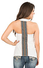 Vintage Havana Women's White with Tribal Back Taping Sleeveless Casual Knit Top