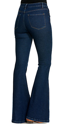 Vervet Women's Dark Wash High Rise Super Flare Leg Jeans