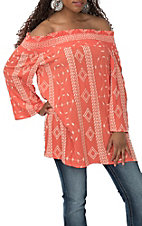 Vine and Love Women's Coral Embroidered Off the Shoulder Tunic Fashion Shirt