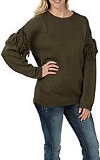 Vine & Love Women's Olive Fringe Long Sleeve Sweater Fashion Top