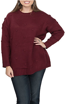 Vine & Love Women's Maroon Dots Long Sleeve Sweater Fashion Top