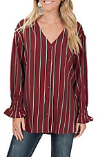 Vine & Love Women's V-Neck Burgundy Long Sleeve Striped Fashion Top