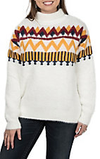 Vine & Love Women's White with Aztec Design and Turtleneck Fuzzy Long Sleeve Sweater Fashion Top