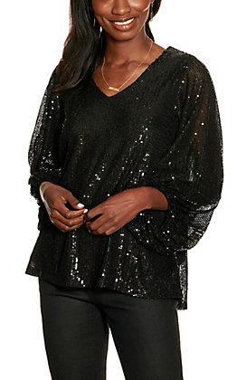 Vine & Love Women's Black Sequin Balloon Sleeve Top