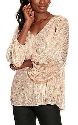 Vine & Love Women's Gold Sequin Balloon Sleeve Top