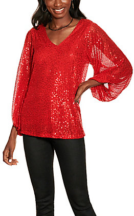 Vine & Love Women's Red Sequin Balloon Sleeve Top