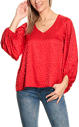 Vine & Love Women's Red Leopard Print Silky Long Puff Sleeve Fashion Top