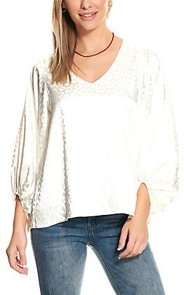 Vine & Love Women's Cream Leopard Print Silky Long Puff Sleeve Fashion Top