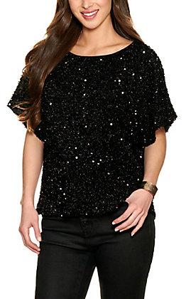 Vine & Love Women's Black Sequin Short Sleeve Top