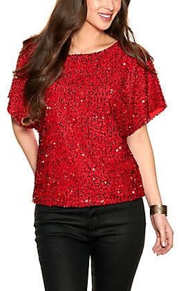 Vine & Love Women's Red Sequin Short Sleeve Top