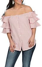 Vine and Love Women's Pink & White Striped Off the Shoulder Ruffle Fashion Shirt