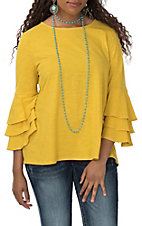 Vine and Love Women's Mustard Ruffle Sleeve Fashion Shirt