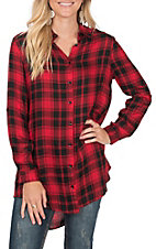 Vine & Love Women's Long Sleeve Plaid Fashion Shirt