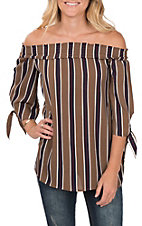 Vine & Love Women's Off the Shoulder Stripe 3/4 Sleeve Mocha Fashion Top