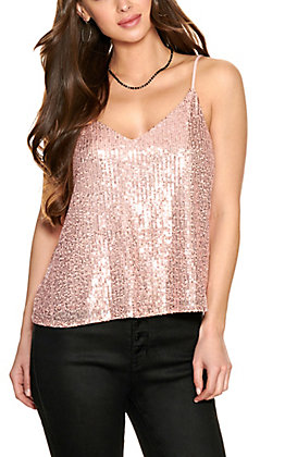 Vine & Love Women's Blush Sequin Tank Top