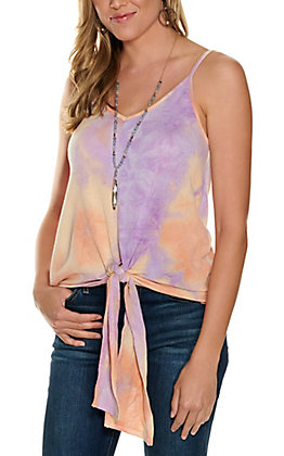 Vine & Love Women's Orange, Yellow and Purple Tie Dye Tie Front Tank Top