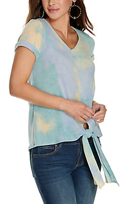 Vine & Love Blue Tie Dye Tie Front Short Sleeve Knit Top