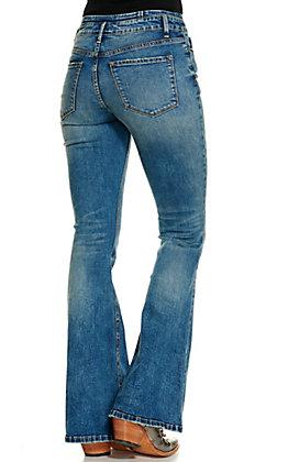 Vervet Women's Medium Wash Button High Rise Flare Leg Jeans