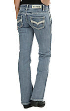 Rock & Roll Cowgirl Women's Light Wash with Metallic Leather V Pocket Low Rise Boot Cut Jean