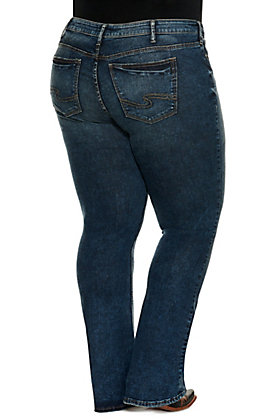 "Silver Women's Elyse Dark Wash Boot Cut 33"" Inseam Jeans - Plus Size"