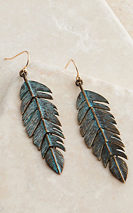 Amber's Allie Patina Feather Dangle Earrings