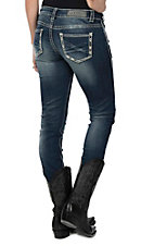 Rock & Roll Cowgirl Women's Medium Wash with Cream Contrast Stitching Open Pocket Skinny Jeans