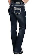 Rock & Roll Cowgirl Women's Dark Wash with Geometric Embroidery Open Pocket Boot Cut Jeans
