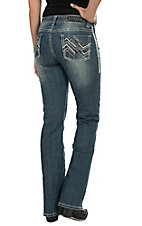 Rock & Roll Cowgirl Women's Medium Wash Ivory Leather & Embroidery Zig Zag Open Pocket Mid Rise Boot Cut Jean