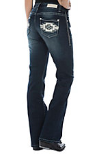 Rock & Roll Cowgirl Women's Aztec With Leather Mid Rise Boot Cut Jeans
