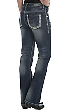 Rock & Roll Cowgirl Women's Dark Wash with Thick Stitch Embroidery Mid Rise Boot Cut Jeans