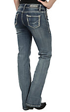 Rock & Roll Cowgirl Women's Medium Vintage Wash Mid Rise Boot Cut Jean