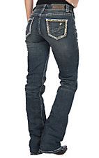 Rock & Roll Cowgirl Women's Distressed with Embroidered Border Pocket Mid Rise Boot Cut Jeans