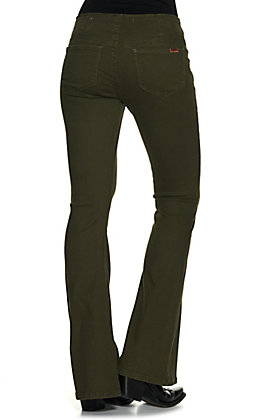 Rock & Roll Denim Women's Olive Green Mid Rise Pull On Stretch Bell Bottom Jean