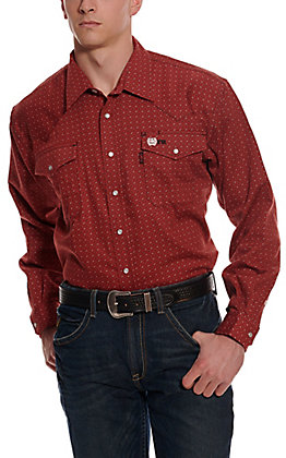 Cinch WRX Men's Red Paisley Print FR Long Sleeve Work Shirt