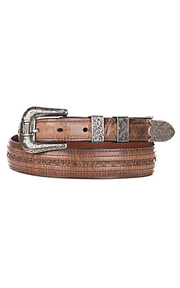 Lucchese Men's Tan Mad Dog Brown Hobby Stitched Western Belt
