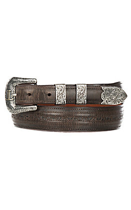 Lucchese Men's Chocolate Mad Dog Brown Hobby Stitched Western Belt