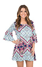 Lore Mae Women's Blue and Turquoise Ornate Print 3/4 Bell Sleeve Dress