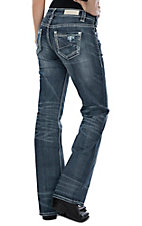 Rock & Roll Cowgirl Women's Simple Stitched Boyfriend Boot Cut Jeans