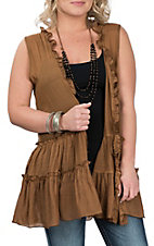 Lore Mae Women's Brown Lace Back Ruffle Vest