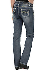 Rock & Roll Cowgirl Women's Medium Wash with Tan Embroidery and Threading Open Pocket Boot Cut Jeans