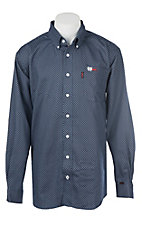 Cinch Men's Flame Resistant Navy CAT2 6.5 OZ Navy Print Button Down