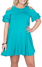 Lore Mae Women's Turquoise Ruffled Cold Shoulder Dress