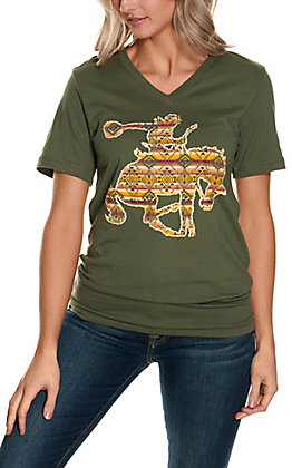 Spirit with Style Women's Army Green with Aztec Bronc Rider V-Neck Short Sleeve Tee