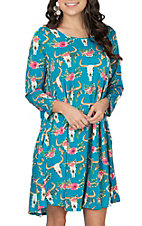 Lore Mae Women's Turquoise Skull Print L/S Dress